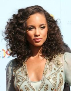 Alicia Keys medium length curly Hairstyles